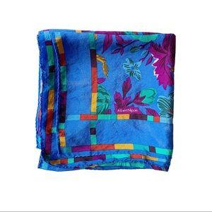 VTG Albert Nipon Silk Scarf Floral Square Blue
